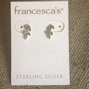 NWT sterling silver leaf earrings